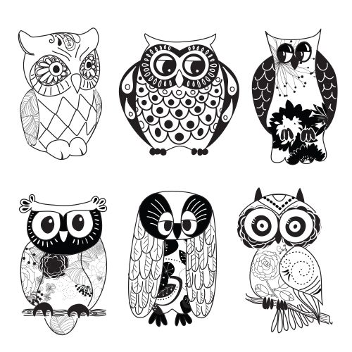 Free Black And White Cartoon Owls, Download Free Clip Art, Free Clip