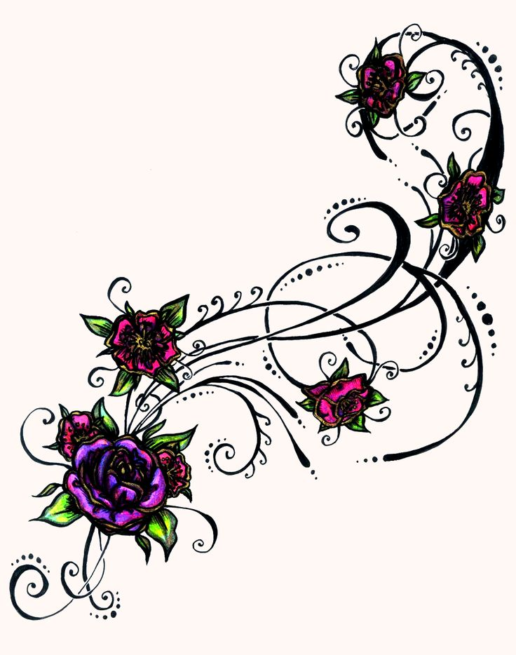 Purple Flower Tattoo Design Flower Tattoo Designs Clipart