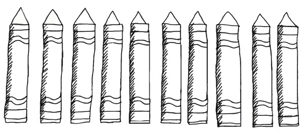color crayons printable pattern  crayon template