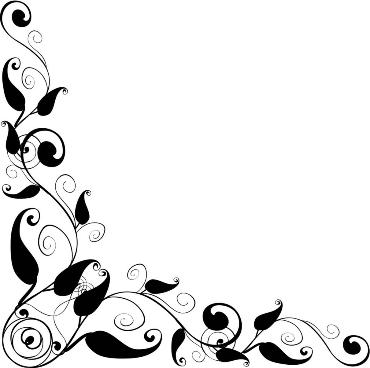 Png Flower Border Black Free Border Design Black And White Download Free Clip Art Free
