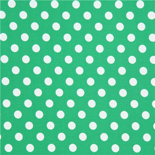green Michael Miller fabric with white polka dots - Dots, Stripes