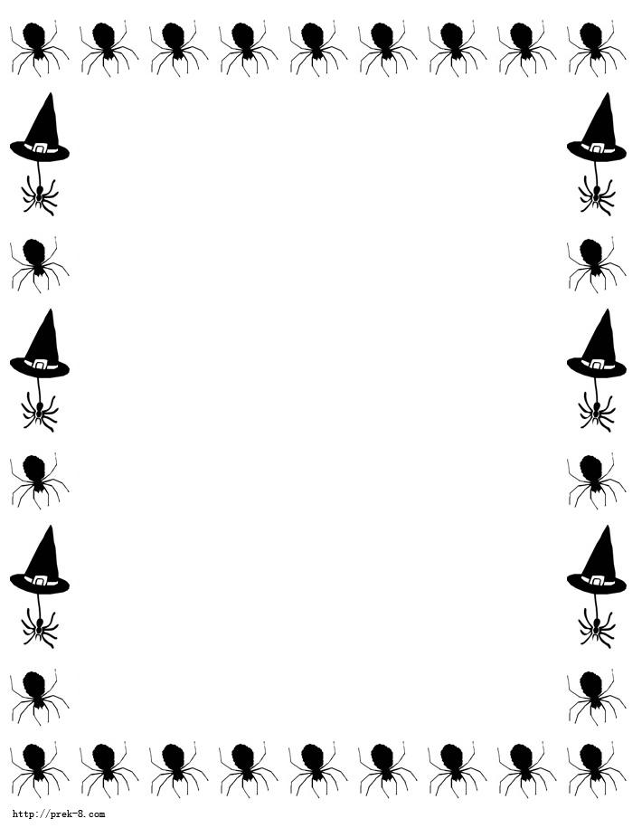 halloween black witch hats border paper, Free printable halloween