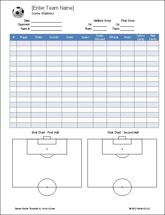 14 football stat sheet template excel
