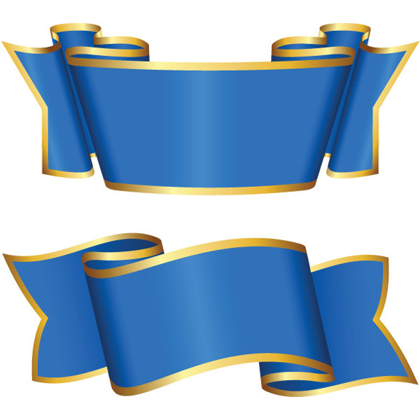 XOOme  2 Gold Trimmed Blue Ribbon Banners Set - Clip Art Library
