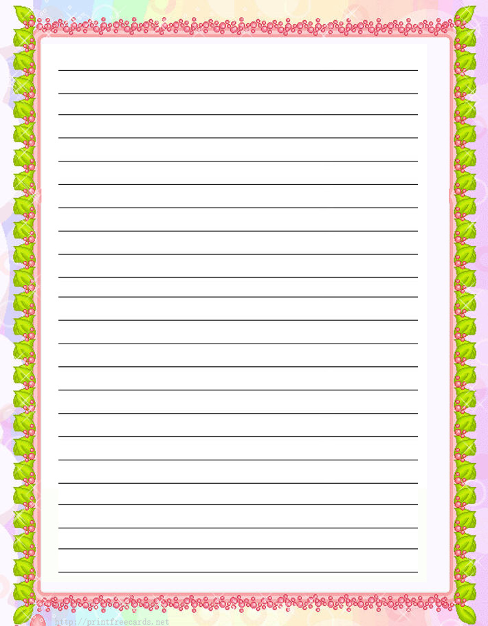 graphic regarding Free Printable Writing Paper With Borders identify Printable Creating Paper With Borders And Strains - Resume