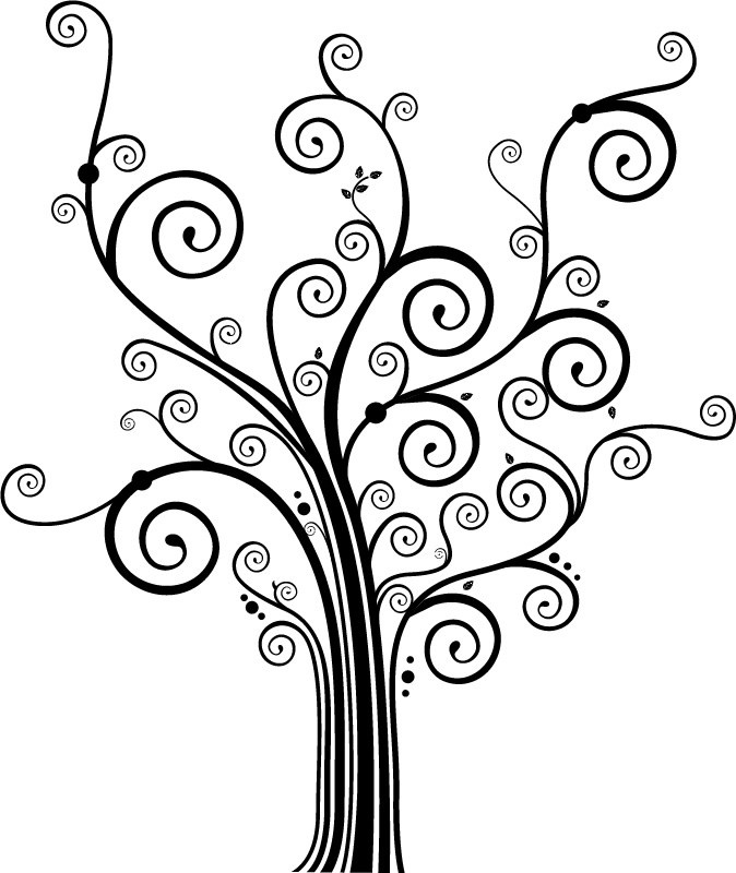 Swirly Decorative Tree Coloring Pages Clipart library - Clip Art