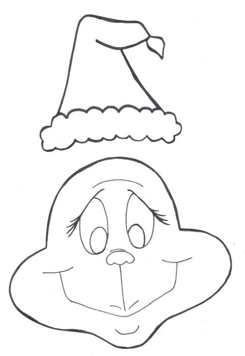 Grinch face / Santa hat outline The, the, theThe Grinch - Clip