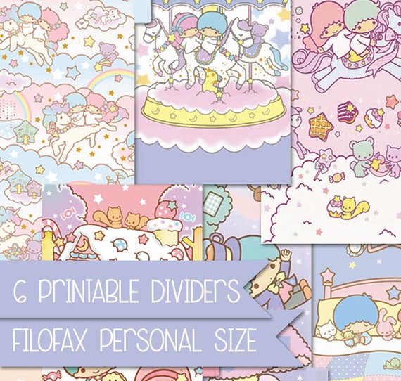 6 Little twin stars printable dividers for filofax by FiloDelight