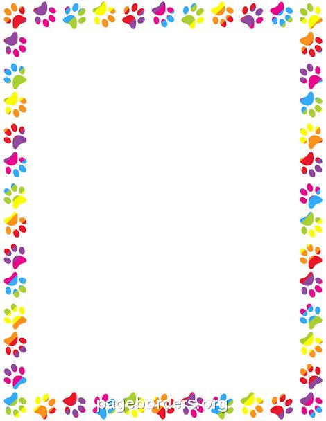 Printable rainbow paw print border Use the border in Microsoft