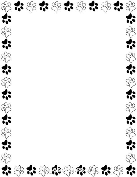 Printable black and white paw print border Use the border in - Clip