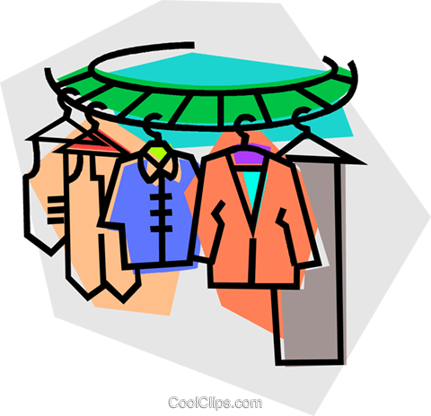 Clothes On A Clothes Rack Royalty Free Vector Clip Art - Transparent Kleider