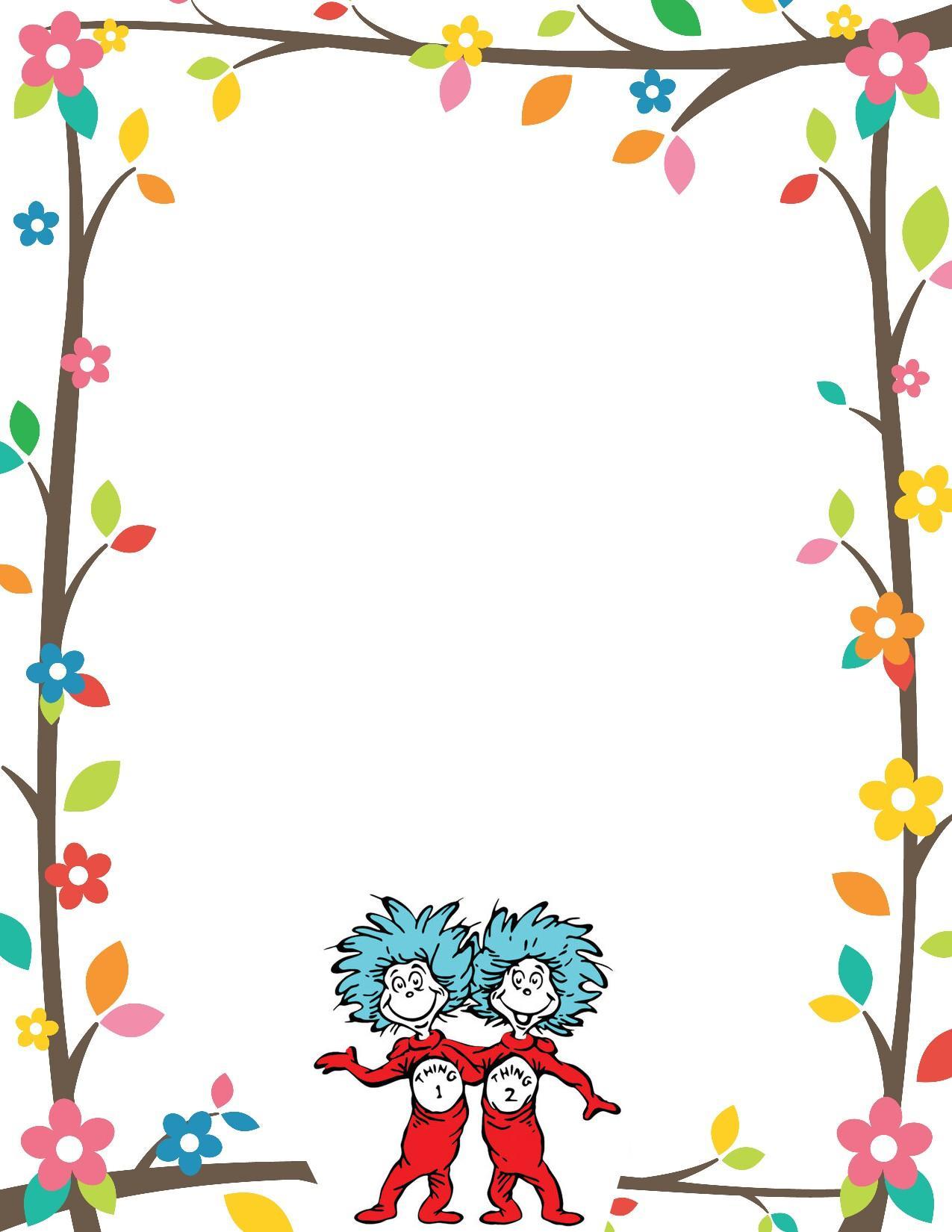 Cute Paw Print Wallpaper Dr Seuss Border Invitation Free Print