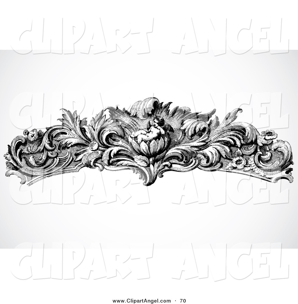 Png Flower Border Black Illustration Vector Of An Black And White Floral Cupid Border