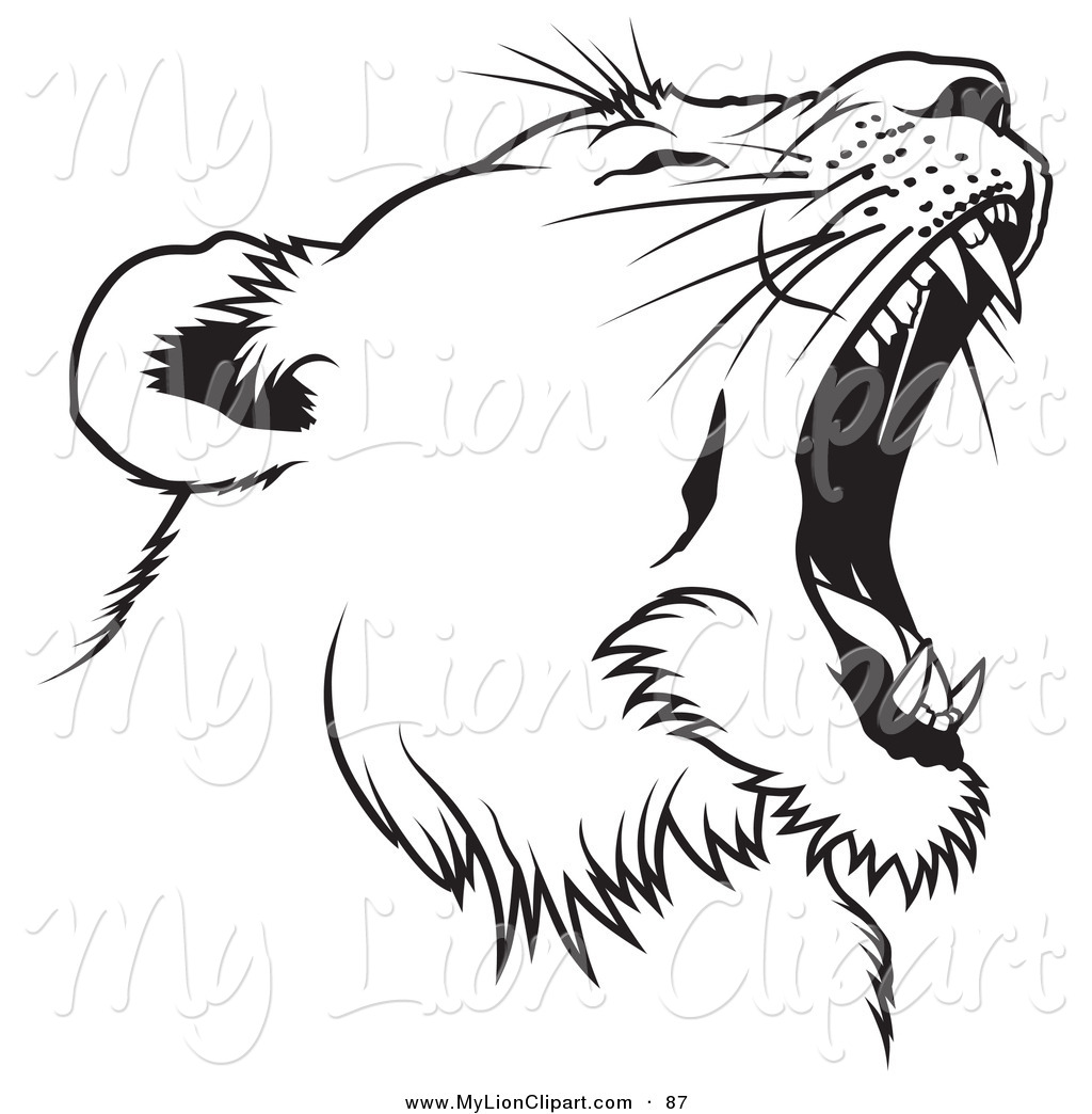 Roaring Lion Clip Art Black And White Roaring Lion Outline