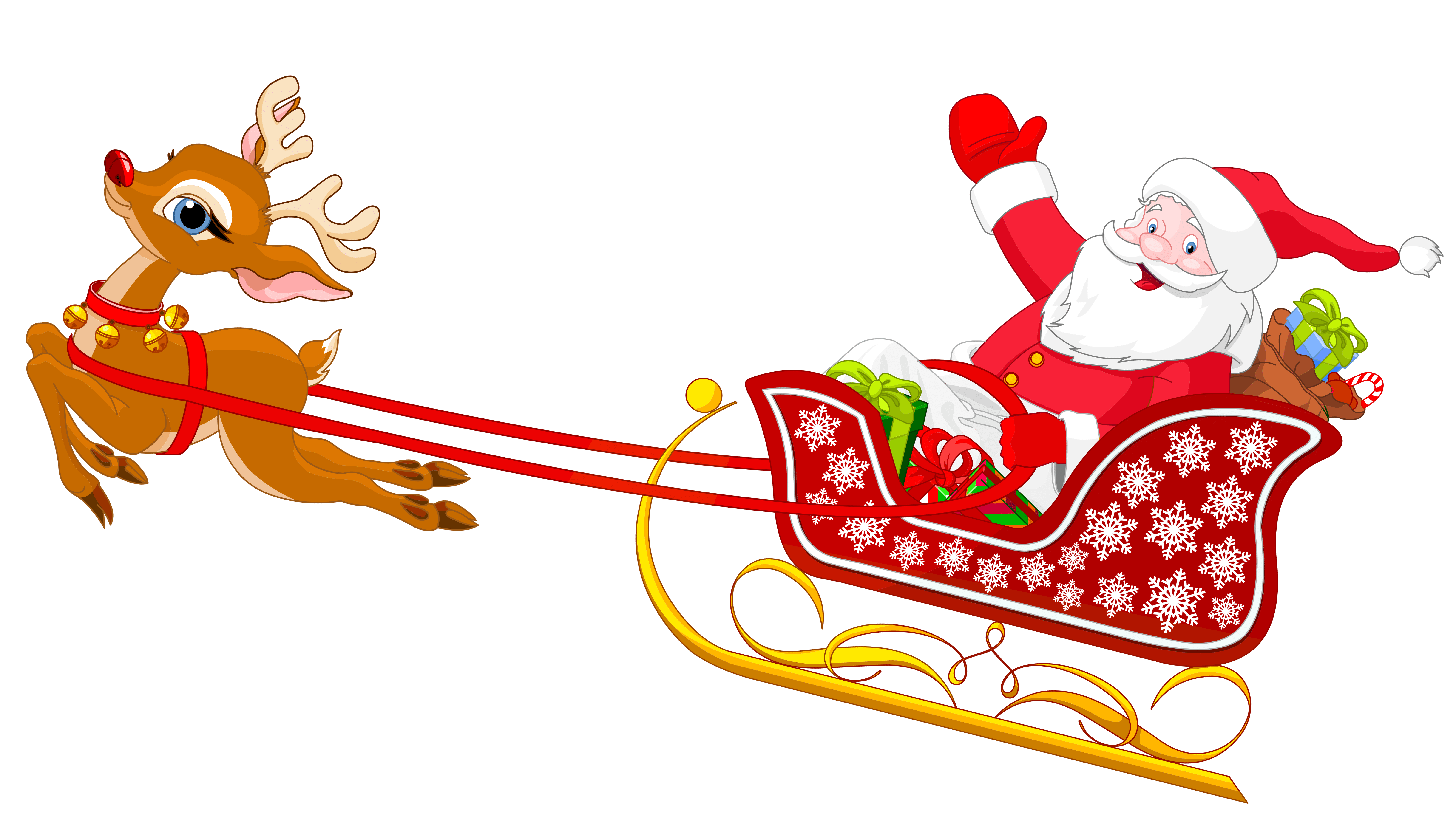 Christmas Tree With Santa Clip Art Santa With Reindeer Clipart Best