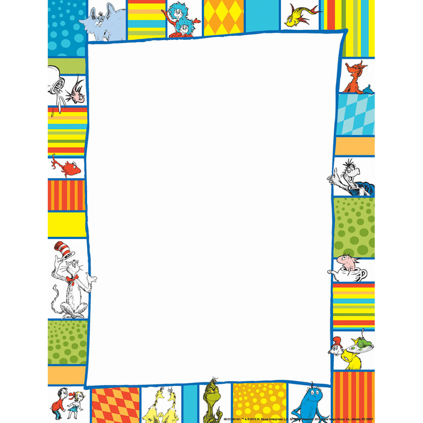 Dr Seuss Border - Clipartion - free paper templates with borders