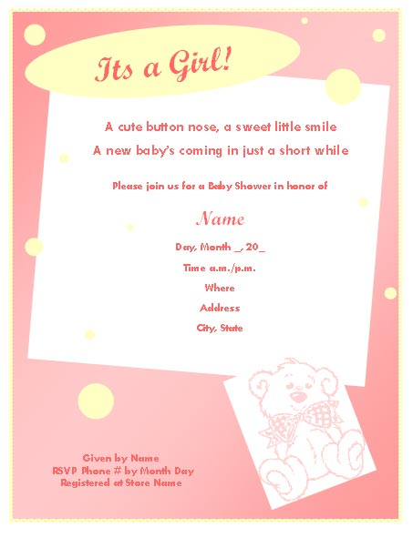 baby girl baby shower invitations templates - Goalgoodwinmetals - baby shower invitation template download