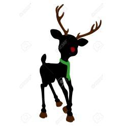 Small Crop Of Reindeer Head Silhouette