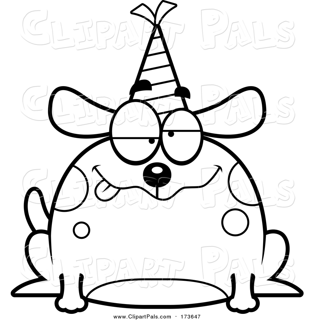 Party Hat Clipart Black And White Pal Clipart Of A Lineart Drunk Birthday Dog Wearing A Party Hat By