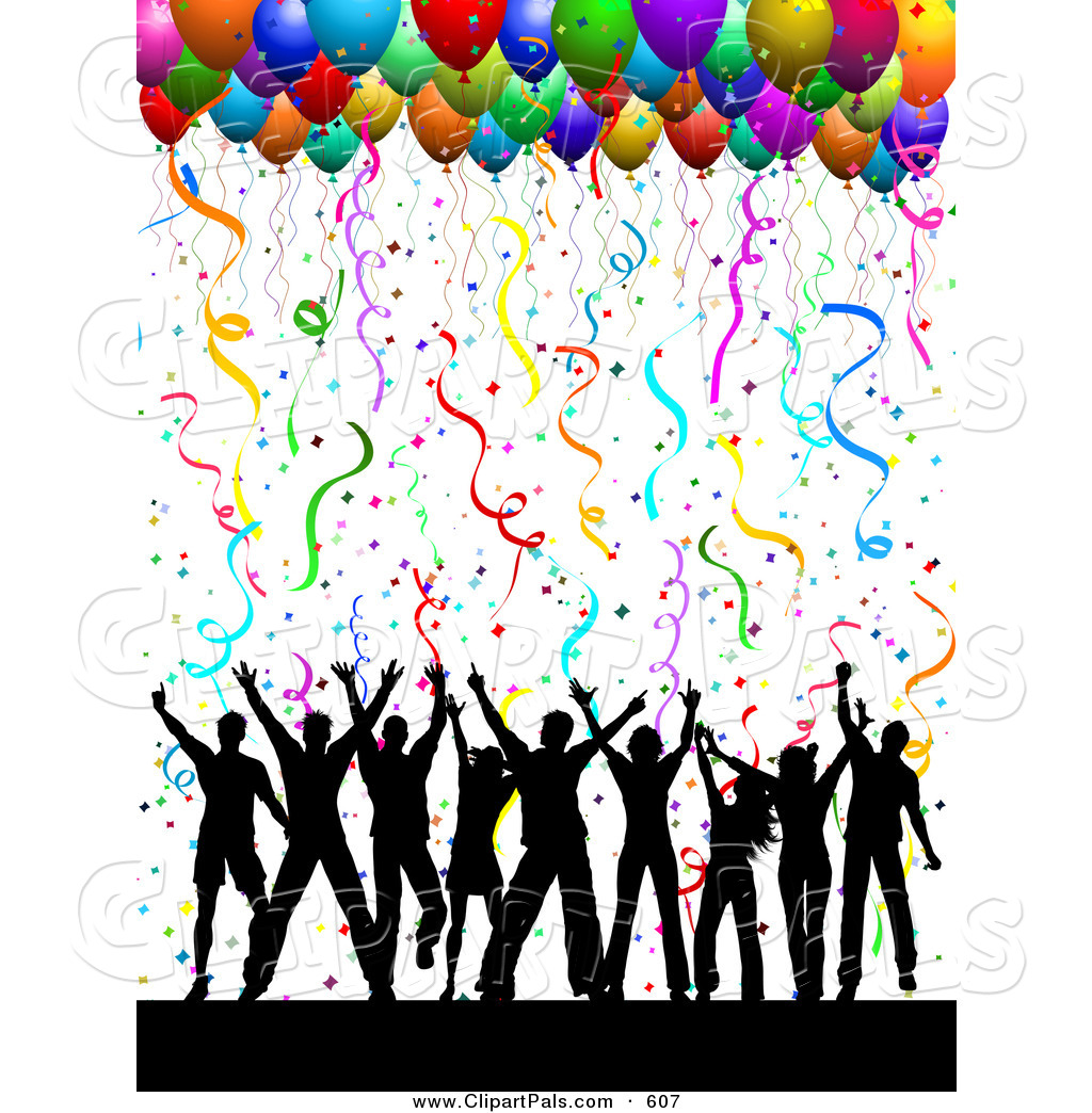 Girl With Balloons Wallpaper Pal Clipart Of A Silhouetted Dancing Group Under Confetti
