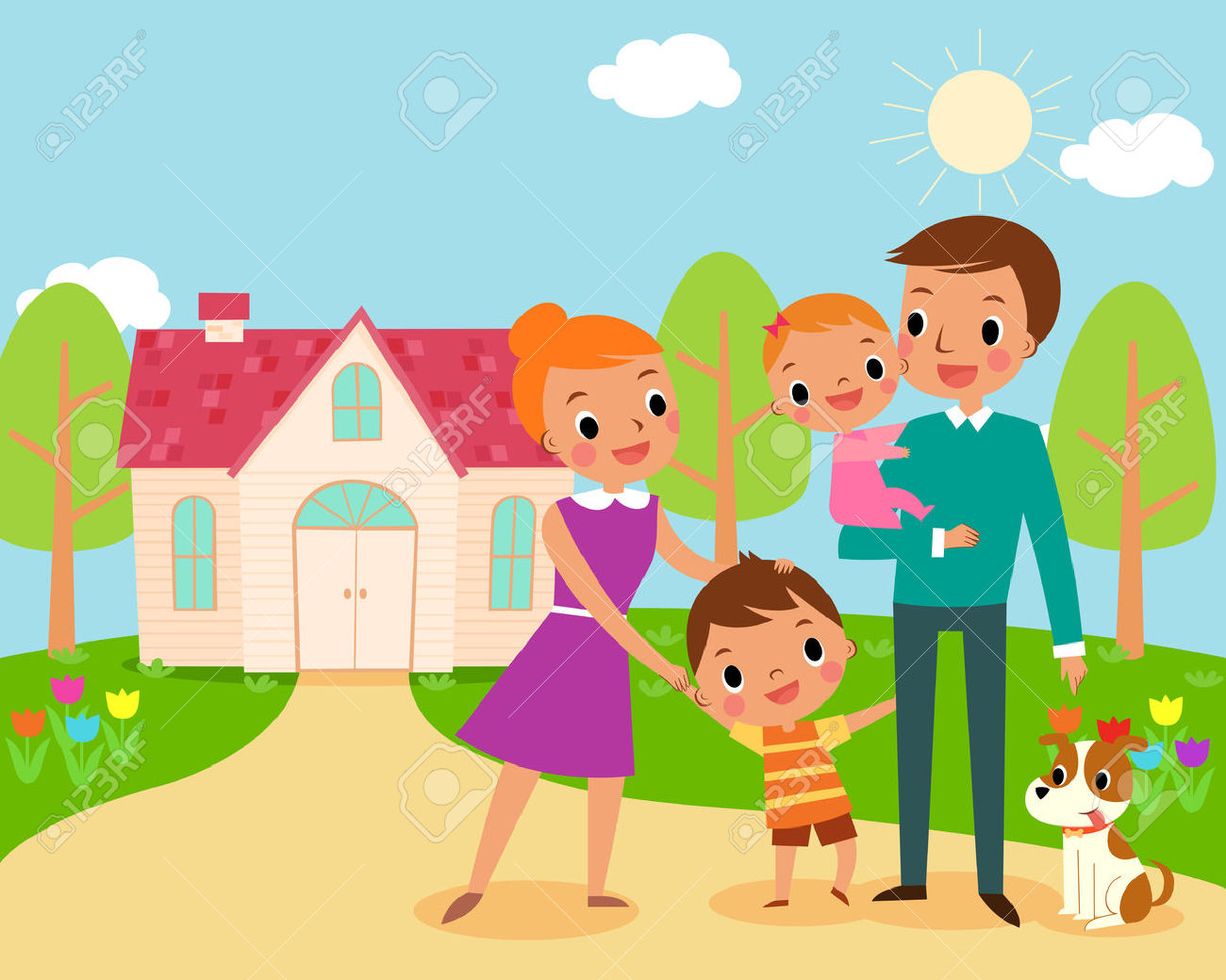 Happy Family Life Clip Art Picture Of Happy Family Home Impremedia