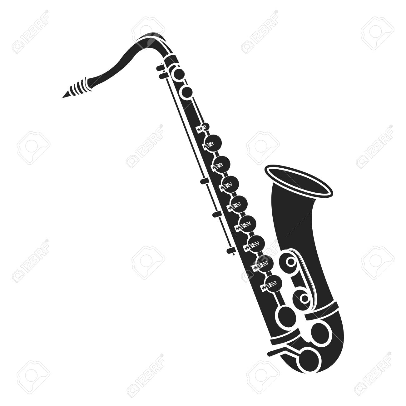 Schranke Clipart Saxophone Icon In Black Style Isolated On White Background