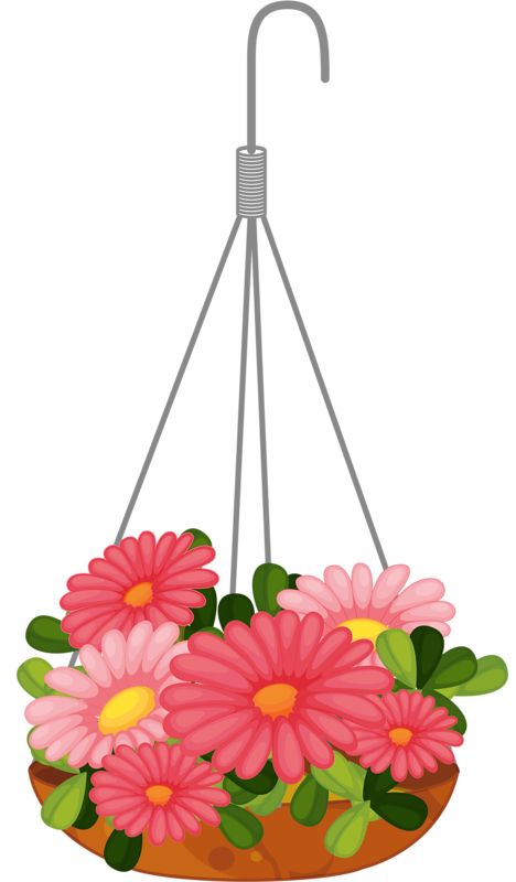 Pot Fleur Design Hanging Basket Clipart - Clipground