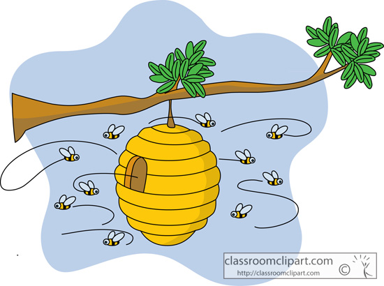 bee hive clipart flying