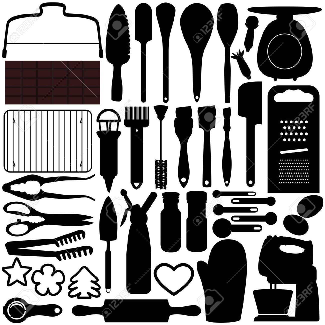 Silhouet Keuken Pastry Utensils Clipart Clipground
