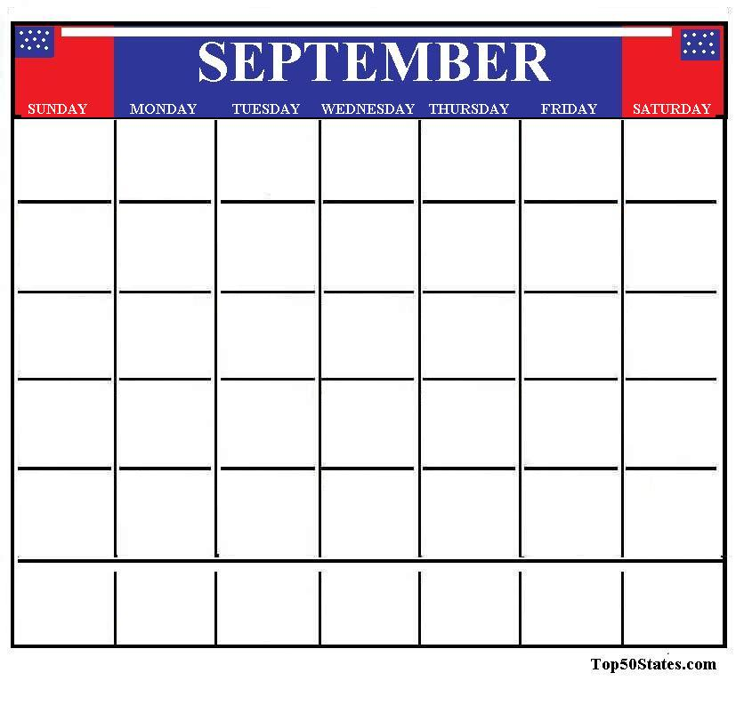 september calendar clipart black and white - Clipground