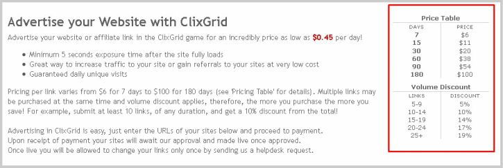 advertise on clixgrid