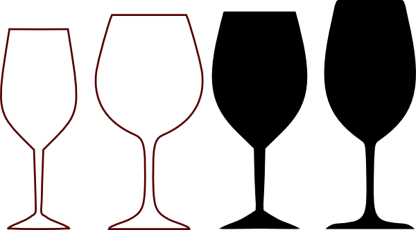 Wein Chardonnay Wine Glasses Silhouette Clip Art At Clker.com - Vector