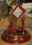 Maroon Schatz 400 Day Clock, Diamond Dial with Japanese Lanterns