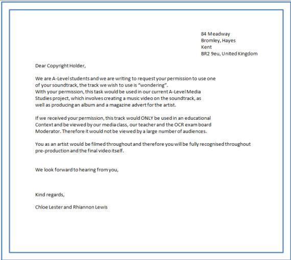 Copy right Permission letter A2 media studies - permission letter