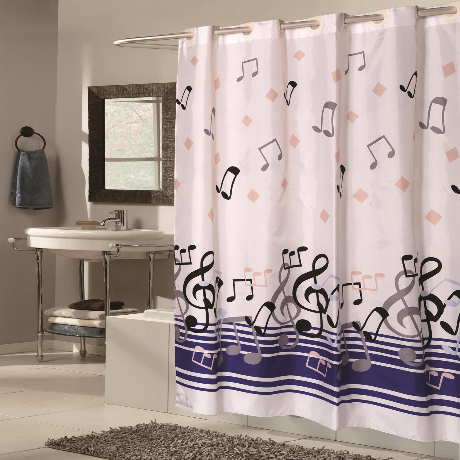 108 Long Shower Curtain Details About Carnation Home Extra Wide Ez On