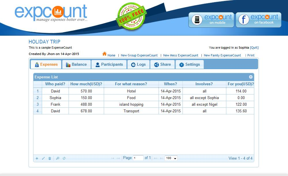 ExpenseCount - The solution for Group Expense, Mess Expense
