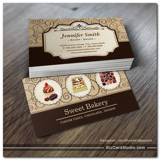 Custom Box of Chocolates Dessert Bakery Store Business Card Templates