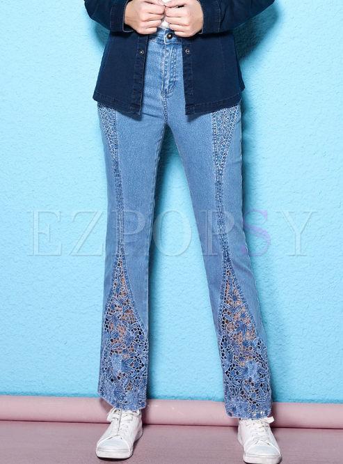 Pants Pants Stylish Lace Stitching Denim Straight Pants