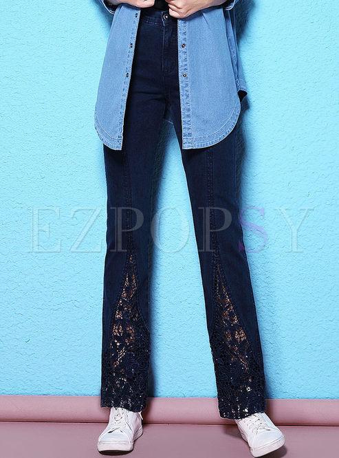 Stylish Lace Stitching Denim Straight Pants Ezpopsy