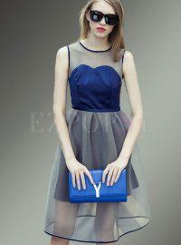 Women Summer Mesh Sleeveless Aline Dress | Ezpopsy.com