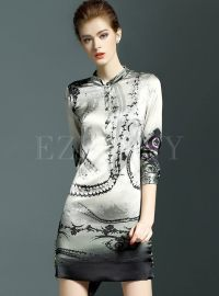 Vintage Silk Print Sheath Dress | Ezpopsy.com