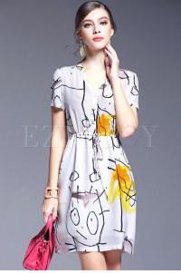 Silk Print Belted A-Line Dress | Ezpopsy.com