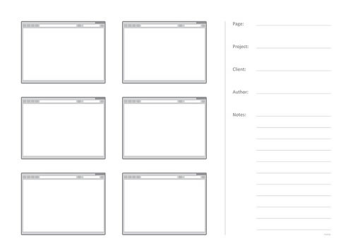 Free Printable Sketching, Wireframing and Note-Taking PDF Templates - wireframe templates