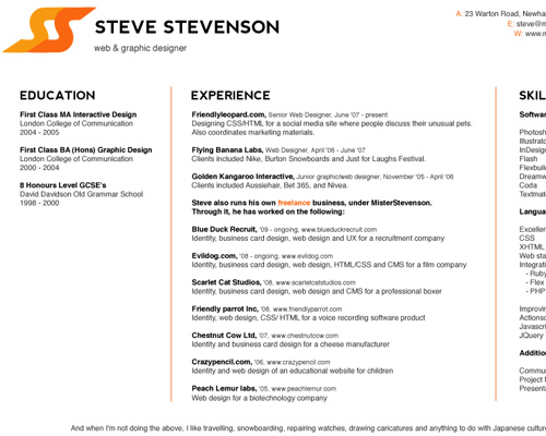How To Create A Great Web Designer Résumé and CV? \u2014 Smashing Magazine - Web Design Resume Example