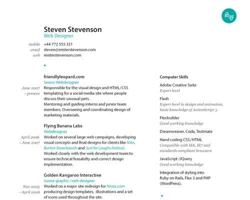 How To Create A Great Web Designer Résumé and CV? \u2014 Smashing Magazine - visual designer resume