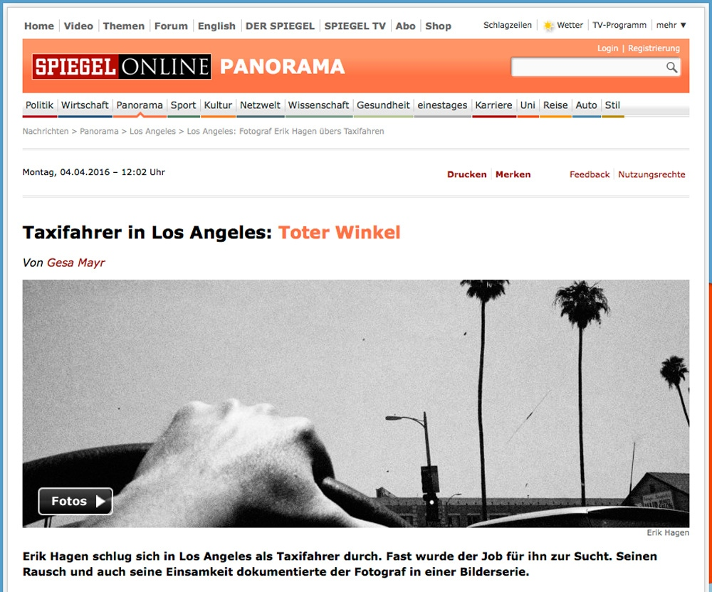 Spiehgel Online Article About My Los Angeles Work In Spiegel Online By Erik Hagen