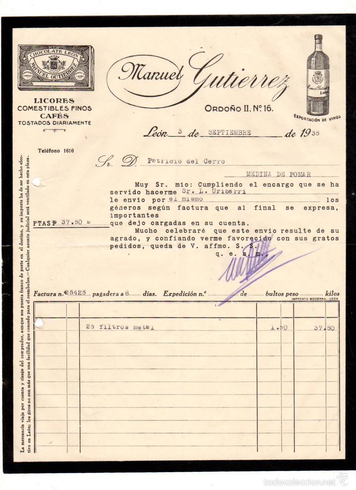factura comercial licores manuel gutierrez leo - Comprar Cartas