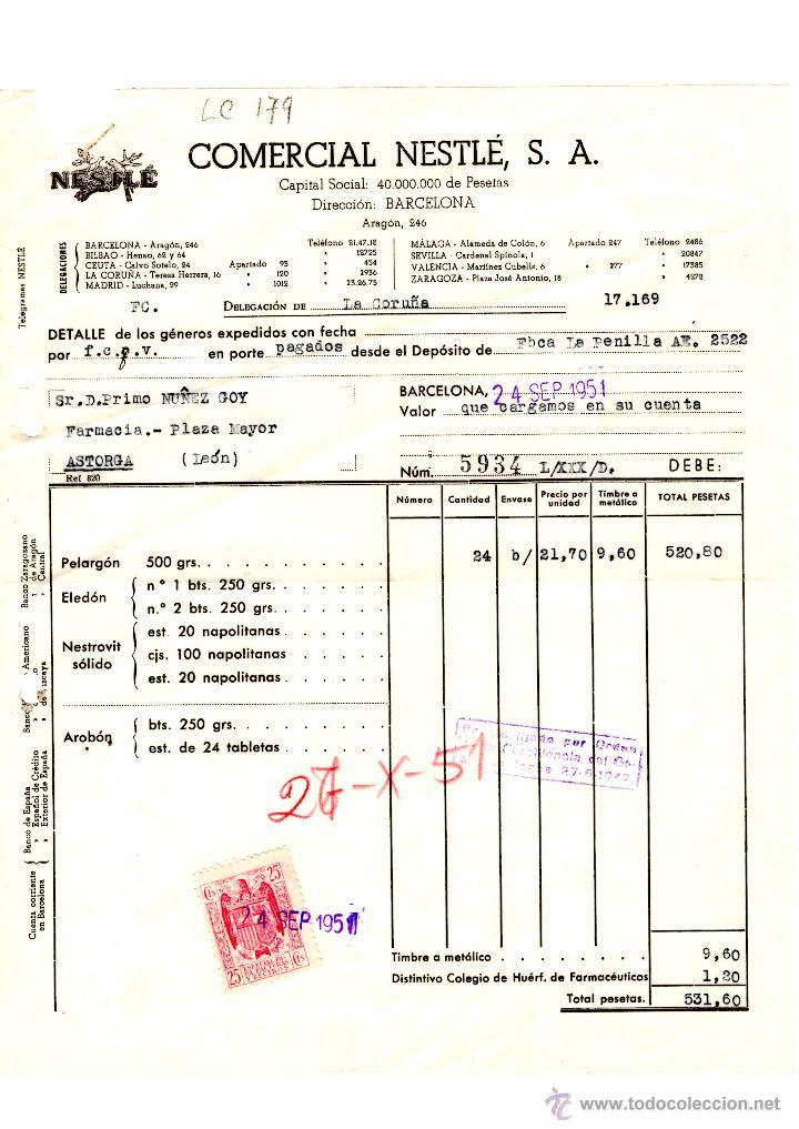 facturaercial nestle, sa barcelona 1951 - Comprar Facturas