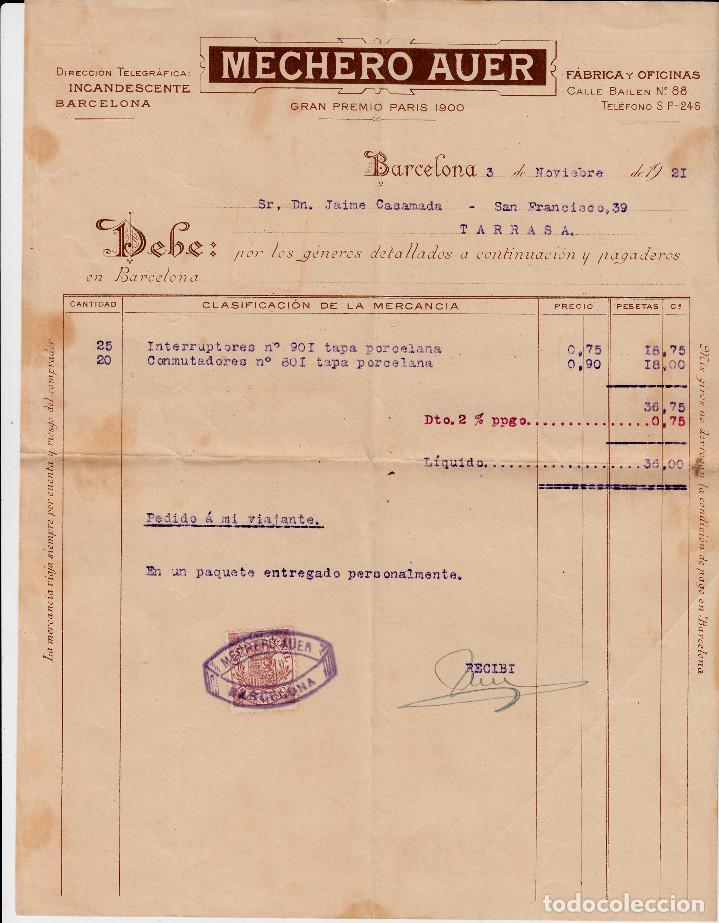 factura comercial de mechero auer en barcelona - Buy Old Invoices at