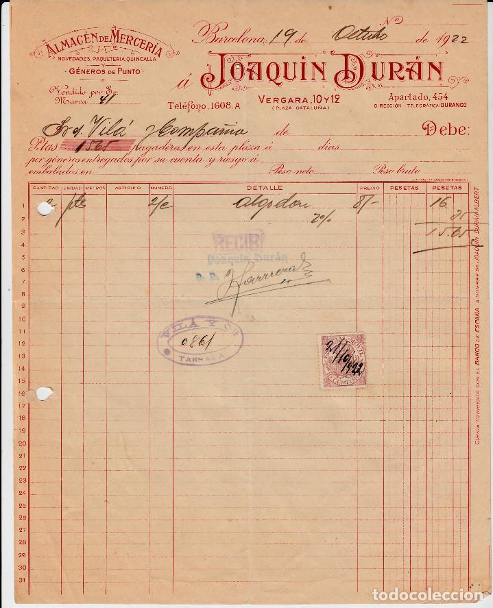 factura comercial de almacen de merceria joaqui - Buy Old Invoices
